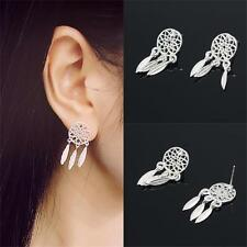 Shiny Sparkly Silver Dream Catcher Feather Stud Drop Earrings Women Girls Gift