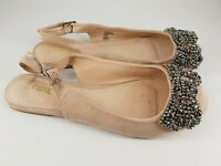 Next size 5 (38) nude faux suede buckle strap slingback beaded pumps ballet flat
