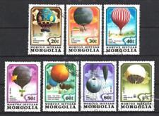 Ballons et Dirigeables Mongolie (35) série complète de 7 timbres oblitérés