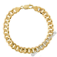 "Men's Italian 14K Yellow Gold 8.25"" 9.0mm Large Cuban Link Chain Bracelet 22.83g"