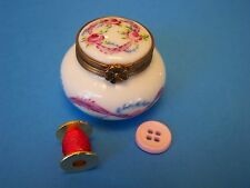 Round Pink,Blue Ribbon,Spool,Button authentic French Limoges Box ( New )