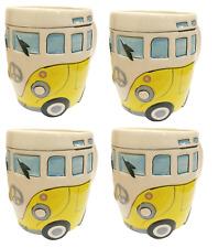 YELLOW Set 4 x Volkswagen VW Camper Van Split Screen Surfers Tea Coffee Mug Cups