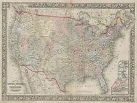 GEOGRAPHY MAP ILLUSTRATED ANTIQUE MITCHELL USA LARGE POSTER ART PRINT BB4447A