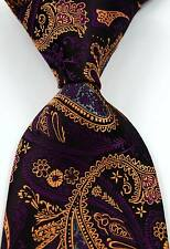 New Classic Paisley Black Brown Purple JACQUARD WOVEN Silk Men's Tie Necktie