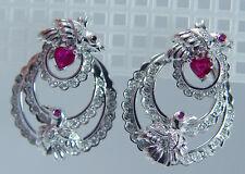 Estate 14K White Gold Ruby Diamonds Birds Jackets Two Earrings in One
