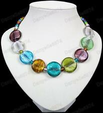 MULTI gorgeous GLASS BEAD NECKLACE green,amber,blue murano silver foil