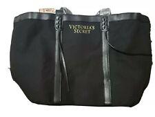 Victorias Secret Black Canvas Travel Gym Tote Bag NWT $68