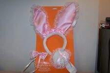 Adult Bunny Character Costume Kit One Size Fits Most Ears, Tail, Bow Tie New