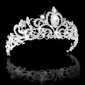 Queen Tiara Crown Wedding Bridal Party Prom Pageant-Silver Rhinestone , Alloy