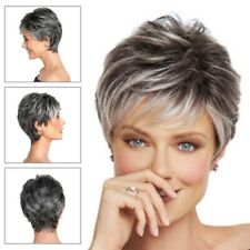 1PC Short Grey Pixie Wig For Women Short Curly Hair Synthetic Pixie Wig Cosplay