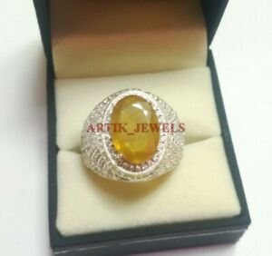 925 Silver Natural Oval Ceylon Yellow Sapphire Gemstone Ring Ideal Gift For Someone Special