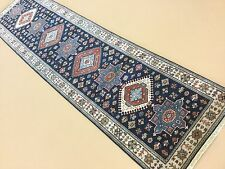 """2'.7"""" X 9'.9"""" Navy Blue Fine Quality Geometric Oriental Rug Runner Hand Knotted"""