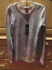 ED HARDY DIVING DRAGON FOILED TISSUE PURPLE T-SHIRT TOP WOMENS  SZ XS NEW