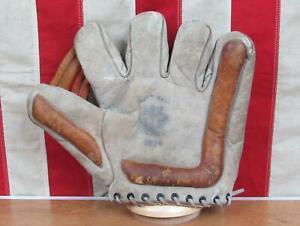 Vintage 1930s BLS Leather Split Finger Baseball Glove Crescent Softball Model