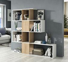 Estanteria o libreria moderna en forma de zig zag color roble canadian y blanco
