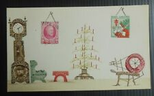 Vintage 1930 Philatelic-theme Christmas postcard, stamps used in images on card