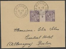 "MONACO STAMP TIMBRE N° 46 ""PRINCE ALBERT 1er 5F VIOLET PAIRE MILLESIME"" OBLITERE"
