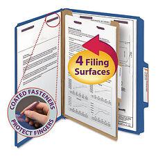 Smead Pressboard Classification Folders Letter Four-Section Dark Blue 10/Box