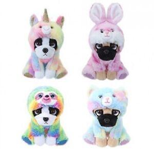 "Cuddly Dog in 6 Costumes 8"" Soft Animal Plush Birthday Gift Toy Pug Bulldog"
