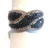 NEW! BLUE DIAMOND (.70) RING, PLATINUM .925 STERLING SILVER SIZE 9