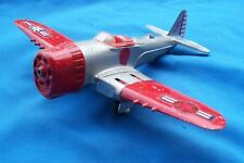 Hubley Kiddie Toy Airplane #495 Folding Wings 1st issue red/silver no prop