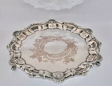 Georgian Style Vintage Silver Plated Salver / Tray - Shell Band, Etched (26.9cm)