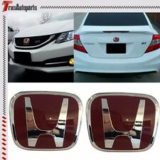 2X JDM Honda Civic Front Grill Rear Trunk Red H Emblem 12-16 Civic Coupe 2DR