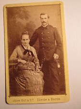 Zürich & Baden - sitzende Frau & stehender Soldat ? in Uniform / CDV Schweiz