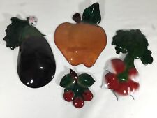 Enameled Fruit and Vegetables Wall Plaques Signed  SST Studio 4 piece Lot