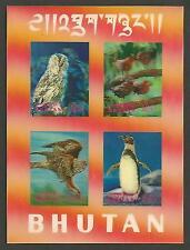 Bhutan 1969 Birds Vögel 3-D Hologram Lenticular Owl Hawk Penguin Eule Adler MNH