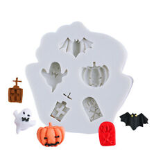 Silicone Fondant Mould Halloween Bat Pumpkin Ghost Cupcake Topper Baking Mold 3D