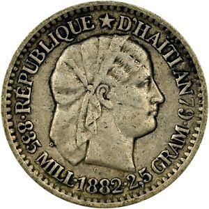 HAITI 1882-A SILVER 10 CENTIMES KM-44 LIBERTY PORTRAIT