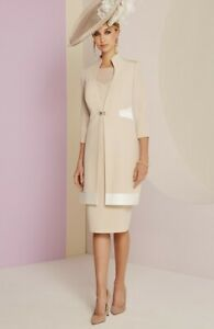 Stunning Veni Infantino for Ronald Joyce Dress/Jacket Size 10 Almond/Ivory BNWT