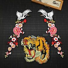 Set of 3 Crane Floral Tiger Embroidered Fashion Applique DIY Sew On Jacket Patch