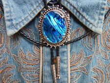 NEW HANDCRAFTED LARGE BLUE ABALONE   BOLO TIE SILVER METAL LEATHER CORD,WESTERN