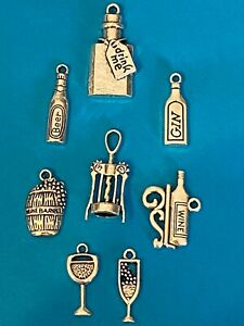 Tibetan Silver Prosecco Wine Beer Gin Glasses Bottles alcohol style charms