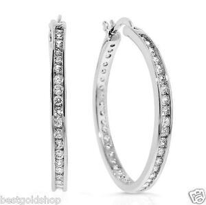 "1"" Brilliant Round Diamonique CZ Hoop Earrings AntiTarnish 925 Silver QVC"