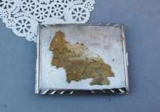US Zone Germany West German Cigarette Case Silver Tone Metal Map USA DBGM