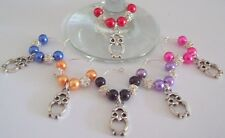 SET OF 6 WINE GLASS RINGS CHARMS CUTE OWLS & SPARKLING DIAMENTE STUDDED BEADS