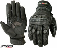 MENS BLACK PERFORATED CARBON KNUCKLE SUMMER MOTORBIKE MOTORCYCLE LEATHER GLOVES