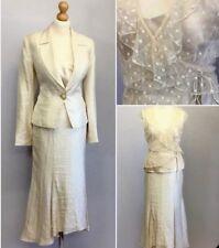 Nueva Ladies Cream Lace Vintage Wedding Evening Skirt Suit UK Size 10/12