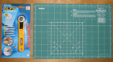 """OLFA Rotary Cutter RTY-1/G & Cutting Mat CM-A4 12"""" X 8"""" Fabric Leather Paper"""