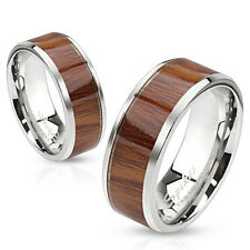NEW MENS / LADIES STEEL ROSE WOOD STYLE INLAY RING BAND CHOOSE SIZE (J33)