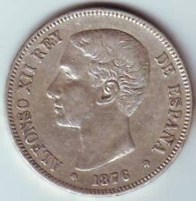 1876 Spain Large silver 5 pesetas-King Alfonso-Nice condition