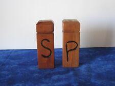Handcarved Wooden Dowel/Block Salt & Pepper Shakers Cork Stoppers