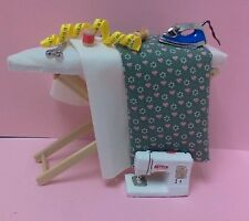 Dollhouse miniature Modern sewing machine,steam iron/ iron board inc/accessories