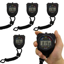 1/5/20Pcs Black Waterproof Digital Lcd Stopwatch Sports Counter Timer Watches