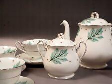 Shelley Drifting Leaves 13848 Tea Coffee Set Teapot Creamer Sugar Bone China