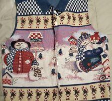 dress barn women 1x Demin material tapstery look picture snowmen buttons & scene