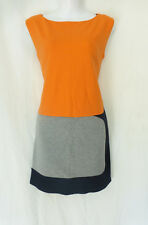 B44 Dressed Orange Grey Black Mod Geometric Lined Mini above Knee Dress Small